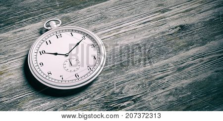 Silver pocket watch isolated on wooden background. 3d illustration