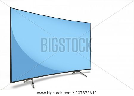 TV, 4k, isolated on white background with blue screen