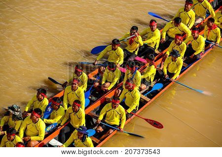 Nan Thailand - October 25 2014: Thai traditional long boat racing usually held on year end after river full of water on Nan river of Nan Thailand