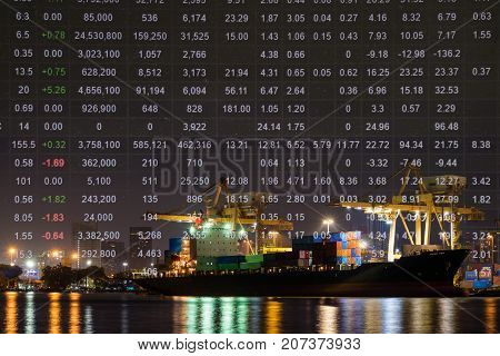 Shipping port and import export container cargo ship loading by crane. Stock price index Baltic Dry Index(BDI) background Logistics industry and transportation business concept