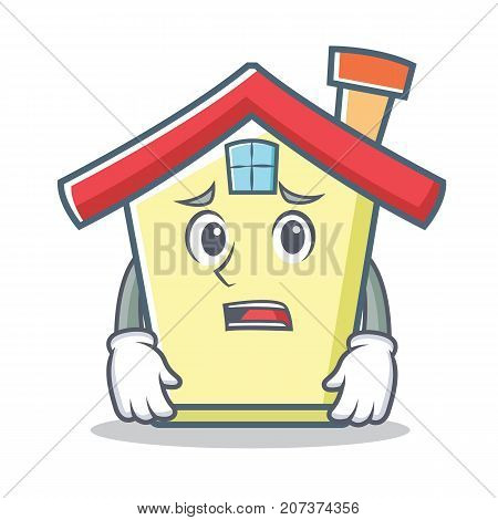 Afraid house character cartoon style vector illustration