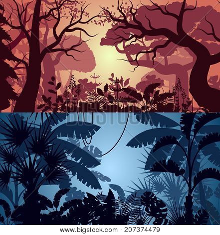 Deep tropical jungle and greenwood backgrounds with leaves, bushes and trees. Floral landscape, wildlife concept, wood silhouettes, evening rainforest poster. Night forest backdrop vector illustration