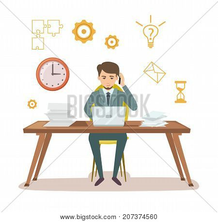 Busy manager work with documents. Young businessman sit at office table and work on laptop. Effective working and time organization, corporate business vector illustration in flat style.