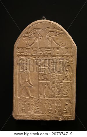 Egyptian Hieroglyphics carved into stone on display at The Vatican in Rome.