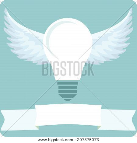 Icon light bulb lamp with wings, as emblem or logo, Stock Vector illustration.