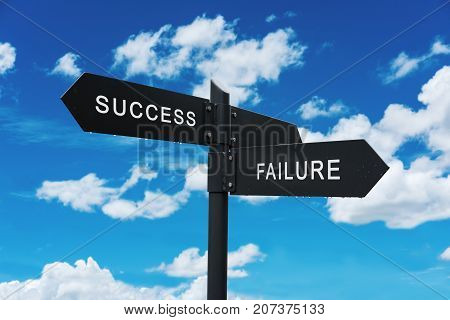 Life choices concept, Success and Failure Signpost, on blue sky background