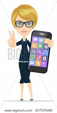 Smiling woman is holding smartphone standing on white background. Stock flat vector illustration.