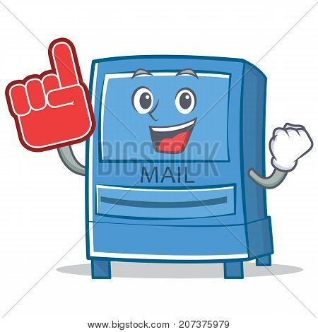 Foam finger mailbox character cartoon style vector illustration