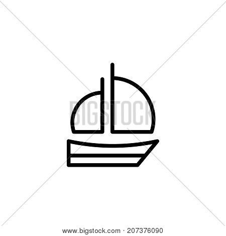 Boat flat icon. Single high quality outline symbol of summer for web design or mobile app. Thin line signs of swimming for design logo, visit card, etc. Outline logo of diving