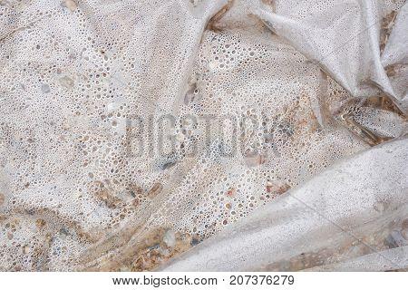 close up dew in plastic bag texture