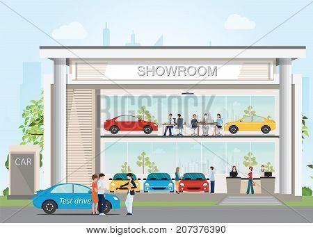Modern car dealership showroom, design vector illustration.