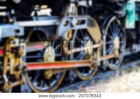 Blurred Closeup -  The train wheel. of Steam locomotive - Thonburi Railway Station - Thailand