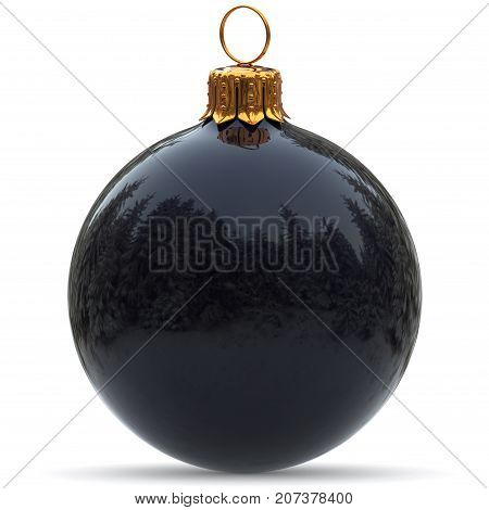 Christmas ball decoration black polished closeup Happy New Year's Eve hanging bauble adornment traditional Merry Xmas wintertime ornament excellent. 3d rendering illustration