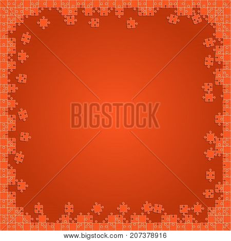 Orange Transparent Puzzles Pieces - Vector Illustration. Scattered Jigsaw Puzzle Blank Template. Vector Background.