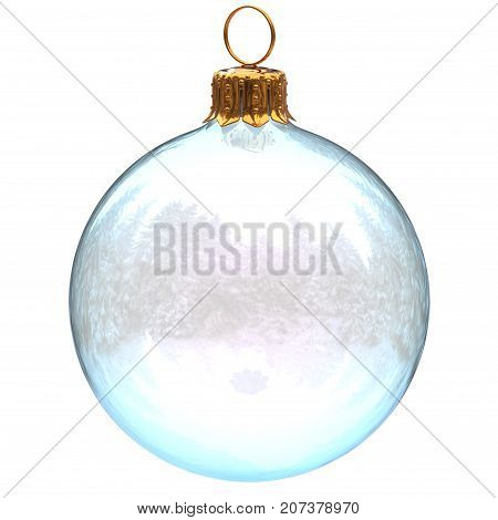 Christmas ball glass decoration white clean translucent closeup New Year's Eve bauble hanging adornment traditional Happy Merry Xmas wintertime ornament. 3d rendering illustration