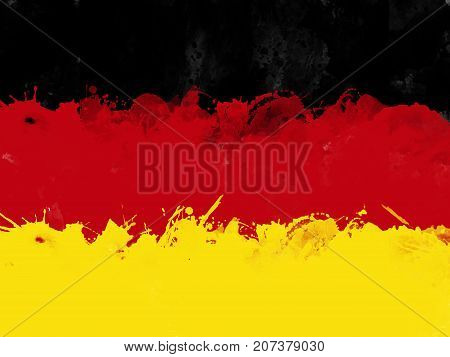 Flag of Federal Republic of Germany by watercolor paint brush grunge style