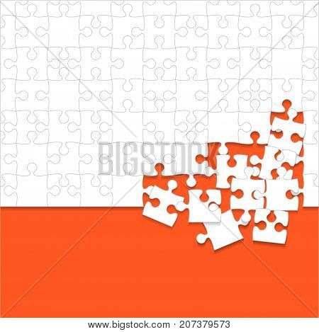 Some White Puzzles Pieces in Orange Background - Vector Illustration. Scattered Jigsaw Puzzle Blank Template. Vector Background.