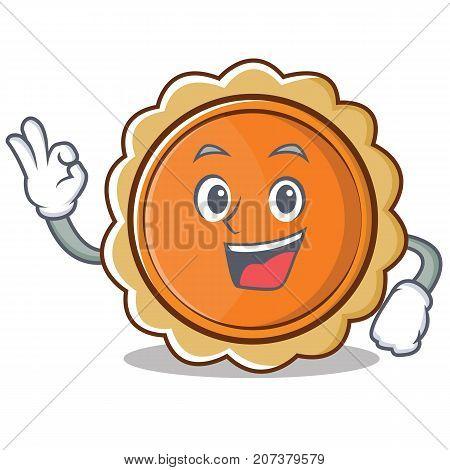 Okay pumpkin pie character cartoon vector illustration