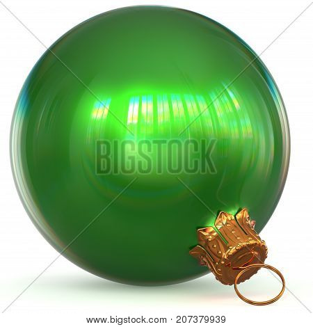Green Christmas ball decoration bauble closeup Happy New Year's Eve hanging adornment polished traditional Merry Xmas wintertime ornament sparkling. 3d rendering illustration