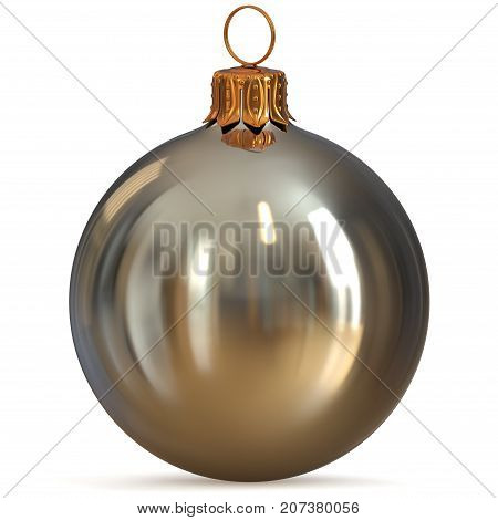 Christmas ball silver white metallic decoration closeup New Year's Eve bauble hanging adornment traditional Happy Merry Xmas wintertime ornament excellent. 3d rendering illustration