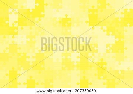 150 Yellow Puzzles Pieces Arranged in a Rectangle - Vector Illustration. Jigsaw Puzzle Blank Template. Vector Background.