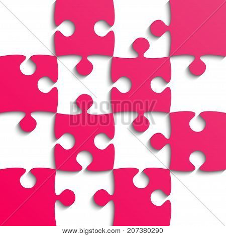 Pink Puzzle Pieces - JigSaw - Vector Illustration. Jigsaw Puzzle. Vector Background. Field for Chess.