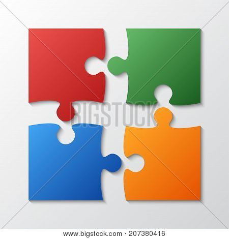 Four Color Piece Jigsaw Puzzle Round Infographic Presentation. 4 Step Business Diagram. Four Section Compare Service Banner. Vector Illustration Template Shape.