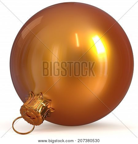 Christmas ball decoration orange golden New Year's Eve hanging bauble adornment traditional Happy Merry Xmas wintertime ornament shiny polished. 3d rendering illustration