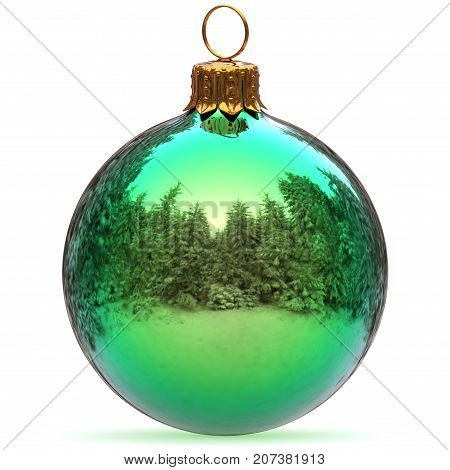 Christmas ball green closeup decoration polished bauble Happy New Year's Eve hanging adornment traditional Merry Xmas wintertime ornament excellent. 3d rendering illustration