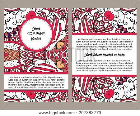 Brouchure design template for company with outline swirls in red colors, vector illustration