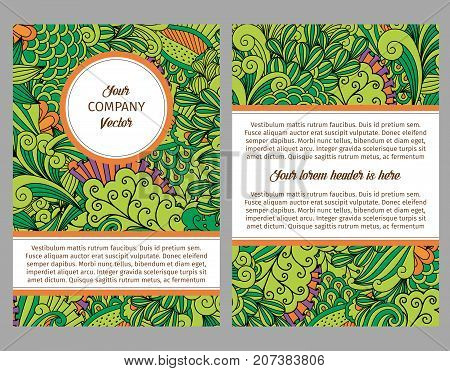 Brouchure design template for company with leaves and swirls ornamental pattern, vector illustration