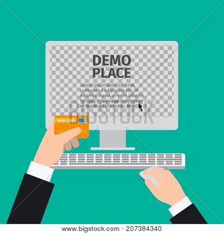 White computer mouse in hand with transparent background for your design, vector illustration