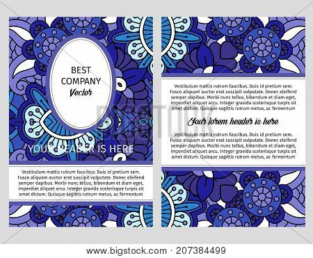 Brouchure design template for company with decorative blue floral ornamental pattern.
