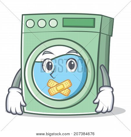 Silent washing machine character cartoon vector illustration