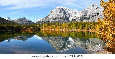 Scenic Wedge pond landscape in Alberta Canada