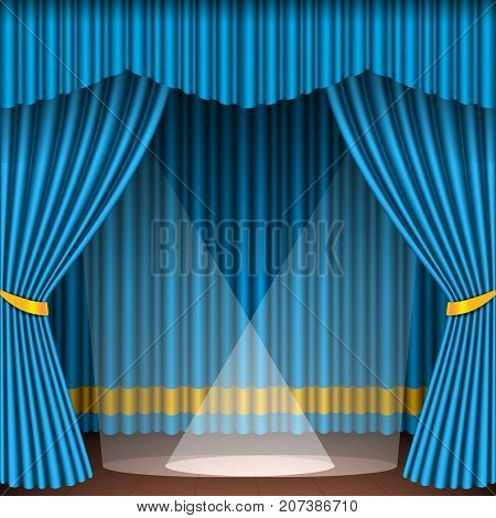 Theater stage with blue curtains and spotlights theatrical scene in light searchlights interior old opera performance background vector illustration. Classical theatre entertainment stage.