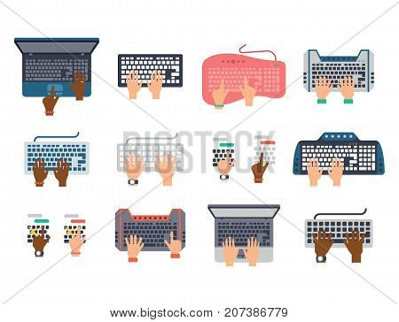 Users hands on keyboard and mouse of computer technology internet work typing tool vector illustration. Computer console editing pad with people hand.