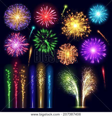 Firework realistic style celebration holiday event night explosion light festive party vector illustration lights.