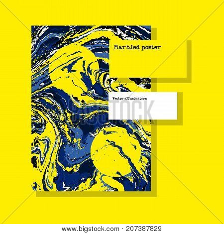 Marbled yellow and blue abstract background. Liquid marble pattern. Vector fluid texture. Template flyer design. Space for text