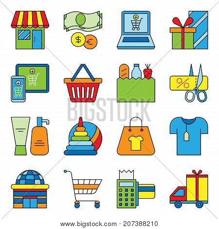 Set of flat shopping icons commercial purchase store buy gift delivery bag commerce basket tag vector illustration. Purchasing internet store buying card.