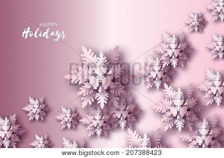 Origami Christmas Greetings card. Paper cut snow flake. Happy New Year. Winter snowflakes background. Space for text. Holidays. Purple background. Vector illustration.