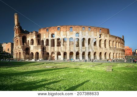 Colosseum in Rome, sunset time, Italy