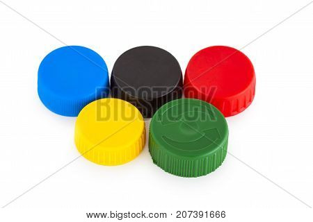 Five colored plastic bottle cap isolated on white background