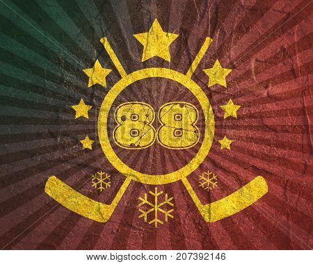 88 number  illustration. Classic style Sport Team font. Numbers decorated by lines and dots pattern. Ice Hockey Emblem. Grunge distress texture.