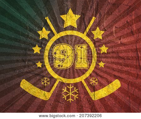91 number  illustration. Classic style Sport Team font. Numbers decorated by lines and dots pattern. Ice Hockey Emblem. Grunge distress texture.