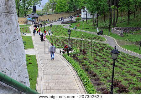 KIEV, UKRAINE - MAY 3, 2011: This is the park area of the Kiev-Pechersk Lavra.
