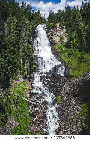 Drone image of popular Canadian waterfall on Callaghan Road off Sea to Sky Highway