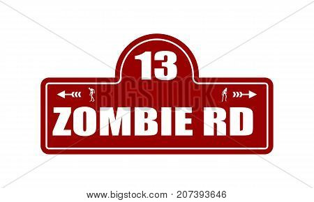Vintage styled house nameplate. Zombie silhouettes. 13 number and zombie rd text