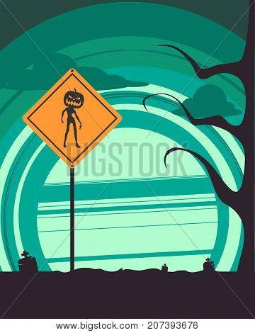 Halloween holiday background. Zombie silhouette with pumpkins head on warning yellow road sign. Cemetery view at night