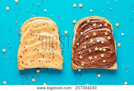 Toasts with peanut and chocolate butter. Two slices of toast for a delicious Breakfast.